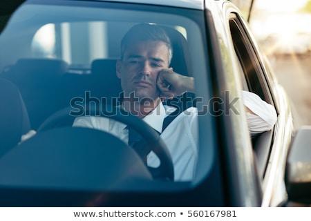 Moe man vergadering verkeer afbeelding ogen Stockfoto © cteconsulting