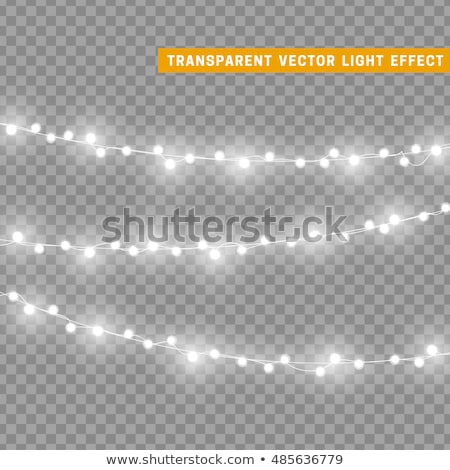 Stock photo: Glowing Christmas lights realistic isolated design elements on transparent background. Xmas garlands