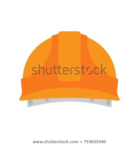 Builder Orange protective helmet. Serviceman hat. Vector illustr Stock photo © popaukropa