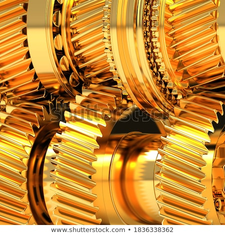 Stockfoto: Economic System Concept Golden Gears 3d