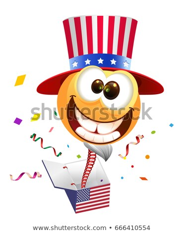 July Fourth Independence Day. Smile Uncle Sam jumps out of box Stock photo © orensila