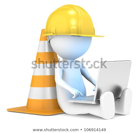 3d small people   site under construction stock photo © anatolym