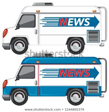 Haber kamyonet clipart görüntü mavi hareketli Stok fotoğraf © vectorworks51