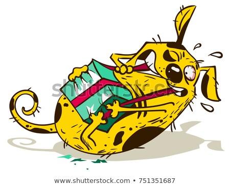 Spaß gelb Hund reißen Geschenkbox isoliert Stock foto © orensila