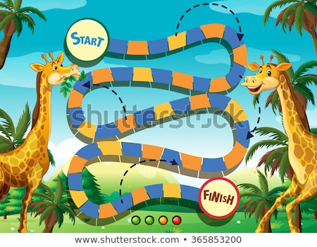 Board template with wild animals in zoo Stock photo © bluering