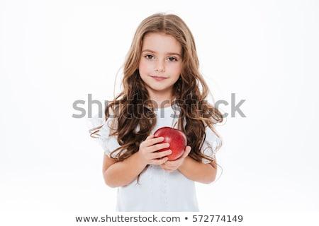 studente · ragazza · mangiare · mela · bella · felice - foto d'archivio © is2