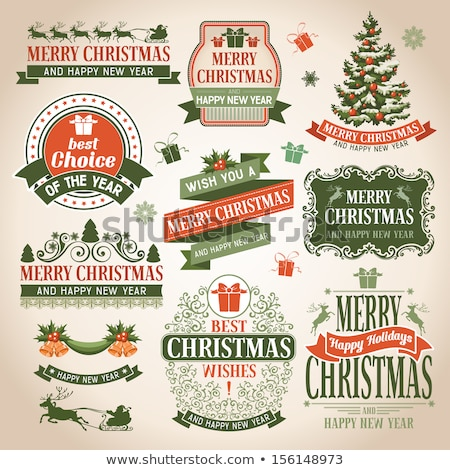 vector christmas illustration with typographic design and ribbon on snowflakes background stock photo © articular