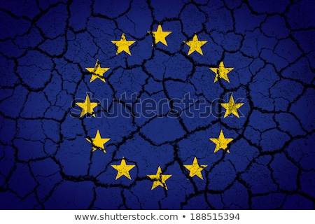 flag of europe on cracked ground background Stock photo © dolgachov
