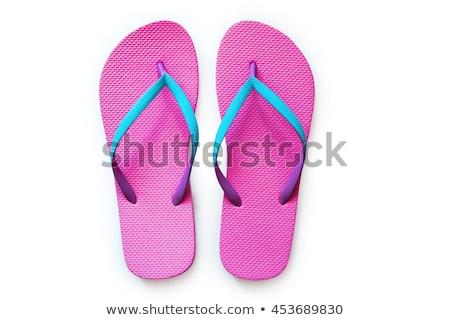 Papucs homokos tengerpart nő tenger háttér cipők Stock fotó © eh-point
