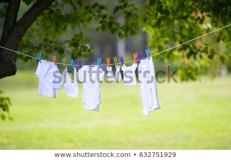 Foto stock: Colgante · lavado · línea · hierba · cielo · azul · césped