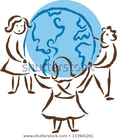 Mädchen Teilung Recycling Junge Gleichgewicht Stock foto © IS2