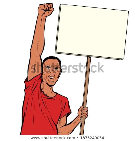 siyah · beyaz · mutlu · adam · protesto · imzalamak - stok fotoğraf © studiostoks