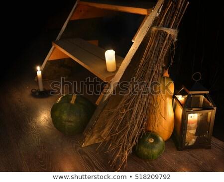 Bruxa vassoura ardente objeto velho Foto stock © Lightsource