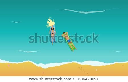 Stock fotó: Pár · vadvizi · evezés · fölött · illusztráció · tenger · óceán