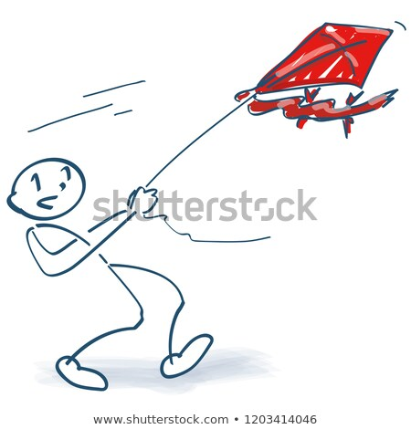 Stick figure with a paper kite in the air Stock photo © Ustofre9