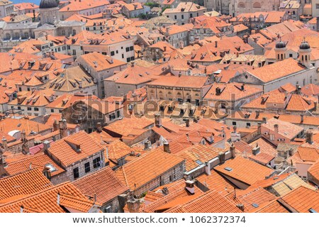 old houses with red orange roofs in dubrovnik in croatia stock photo © bezikus