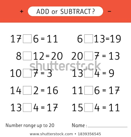 Worksheet design for subtraction Stock photo © colematt