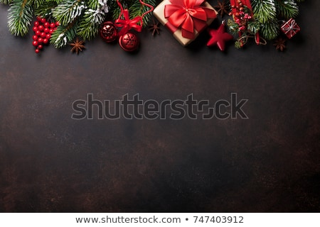 christmas gift box mittens and xmas fir tree stock photo © karandaev