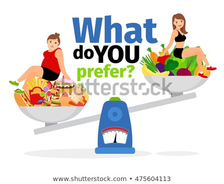 Fat And Slim Girl On The Scales With Healthy And Unhealthy Food Vector. Isolated Cartoon Illustratio Stock photo © pikepicture