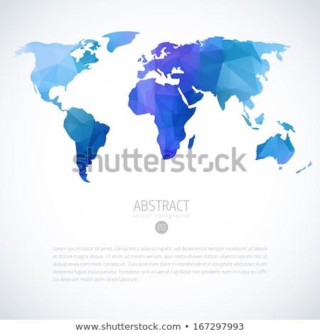 Mapa mundo azul color vector cartel Foto stock © robuart