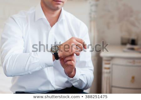 bruidegom · stijlvol · horloge · band · pols · business - stockfoto © ruslanshramko