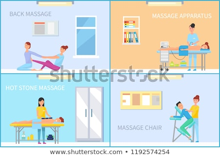 Atrás masaje aparato herramienta carteles vector Foto stock © robuart