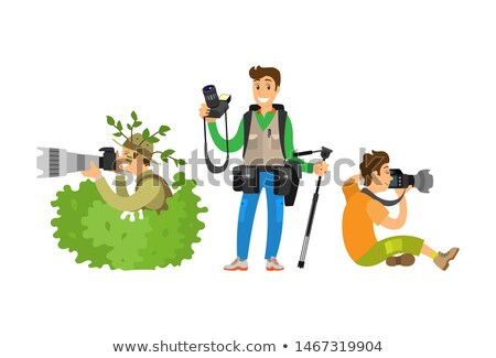 Set Photo Journalists Making Broadcast Reportage Stock photo © robuart