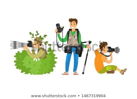 セット · カメラマン · カメラ · 記者 · ブロガー · ジャーナリスト - ストックフォト © robuart