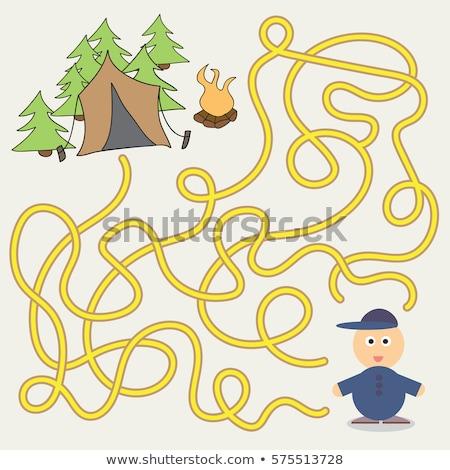 Gyerek labirintus játék sablon illusztráció háttér Stock fotó © colematt
