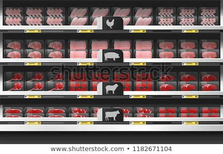 Butchers Department in Supermarket Store Vector Stock photo © robuart