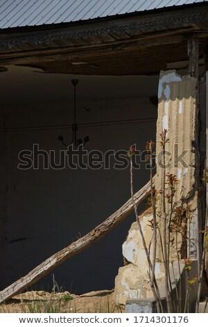 fából · készült · fal · öreg · elpusztított · ház · törött - stock fotó © romvo