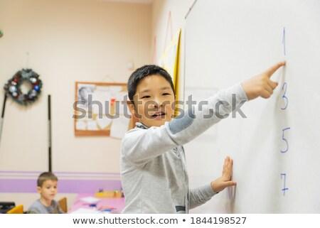 Kislány grafikon probléma illusztráció gyermek diák Stock fotó © colematt