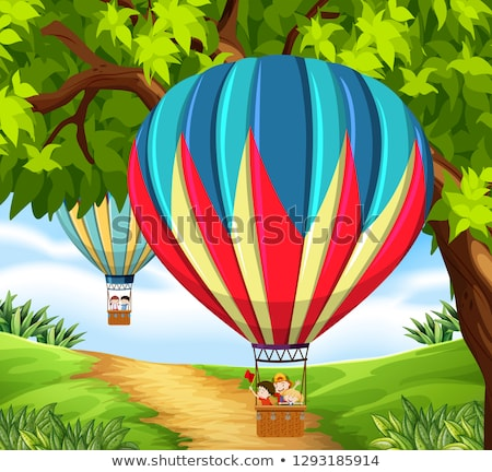 Cgroup of children riding hot air balloon Stock photo © bluering