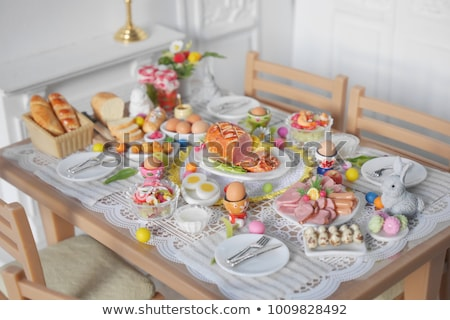 Pascua · mesa · pastel · rosa · decorado - foto stock © mythja
