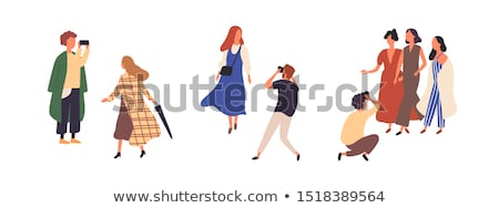 Fashion models and paparazzi vector illustrations set. Stock photo © RAStudio