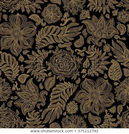 Paisley yellow indian seamless vector pattern. Stock photo © yopixart