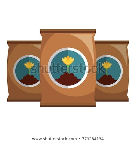 Szett műtrágya táska illusztráció háttér művészet Stock fotó © bluering