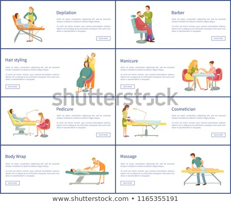 Spa Salon Pedicure and Barber Vector Posters Set Stock photo © robuart