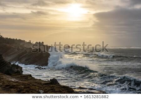 Stockfoto: Stormachtig · kust · storm · strand · natuur · zee