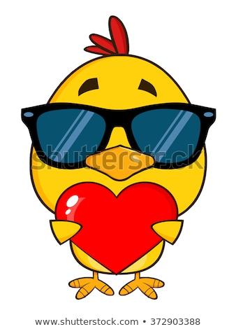 Cute Geel chick Valentijn Stockfoto © hittoon