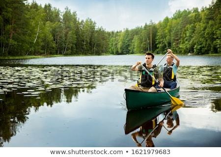 カヌー · アイコン · ベクトル · カヤック · 実例 · 緑 - ストックフォト © bluering