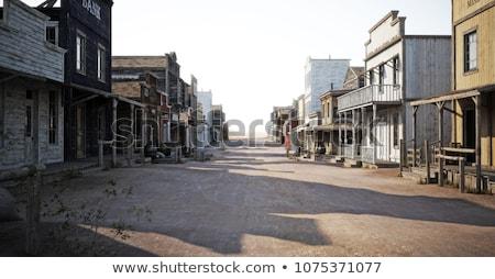 Westerse oude binnenstad paard weg illustratie huis Stockfoto © colematt