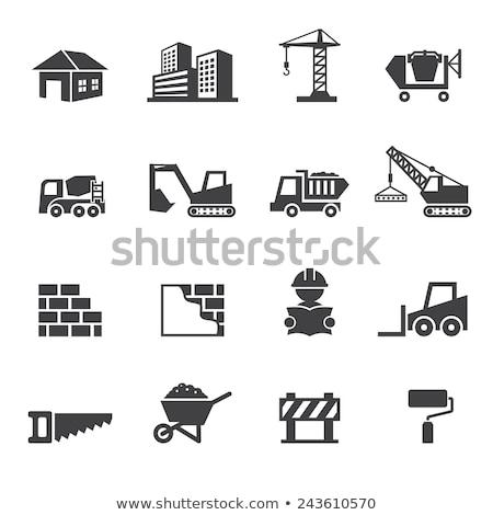 Icono construcción excavadora delgado línea diseno Foto stock © angelp