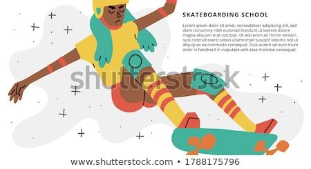 色 ヴィンテージ スケート ショップ バナー eps ストックフォト © netkov1