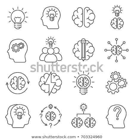 brain puzzle hand drawn outline doodle icon stock photo © rastudio