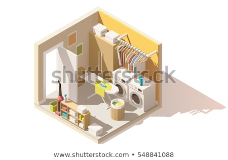 Vetor isométrica lavanderia quarto utilidade interior Foto stock © tele52
