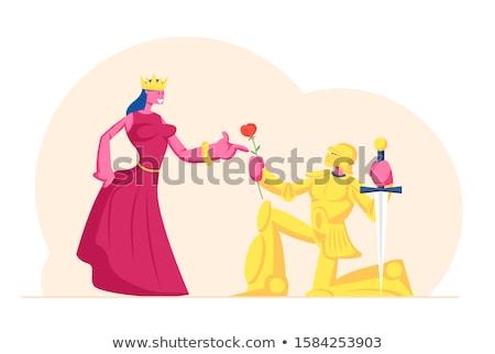 男 騎士 女性 城 ポップアート レトロな ストックフォト © studiostoks