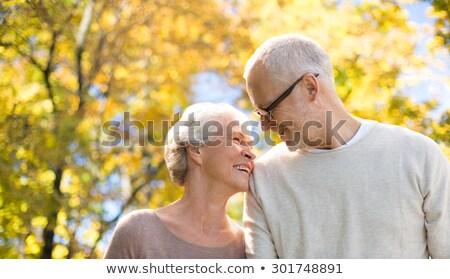 Pareja de ancianos otono parque vejez amor personas Foto stock © dolgachov