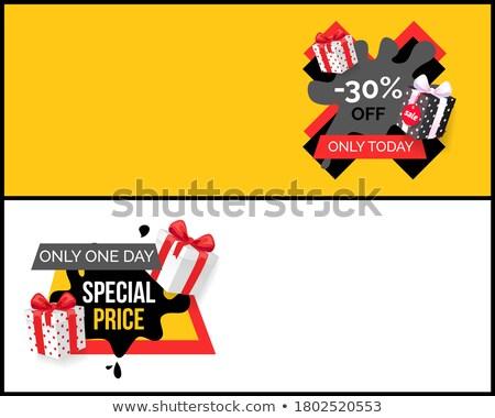 Különleges ár promo címke ajándékok fekete Stock fotó © robuart