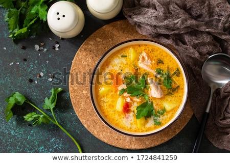 Fish soup with salmon Stock photo © YuliyaGontar